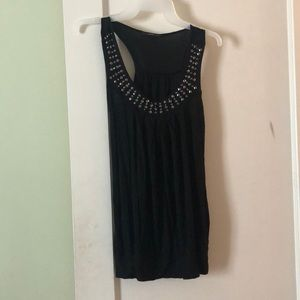 Loosely fitted black sleeveless blouse